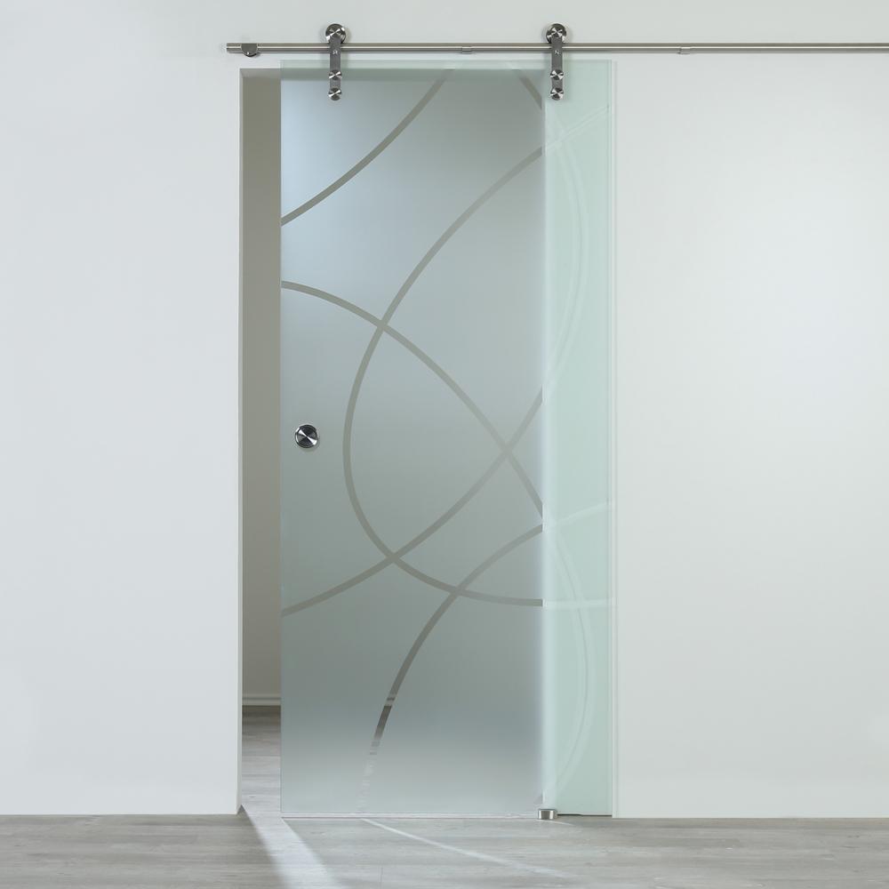 Schiebetür Glastür Glasschiebetür Klarglas mit Dekor 900 x 2050 mm Komplettset